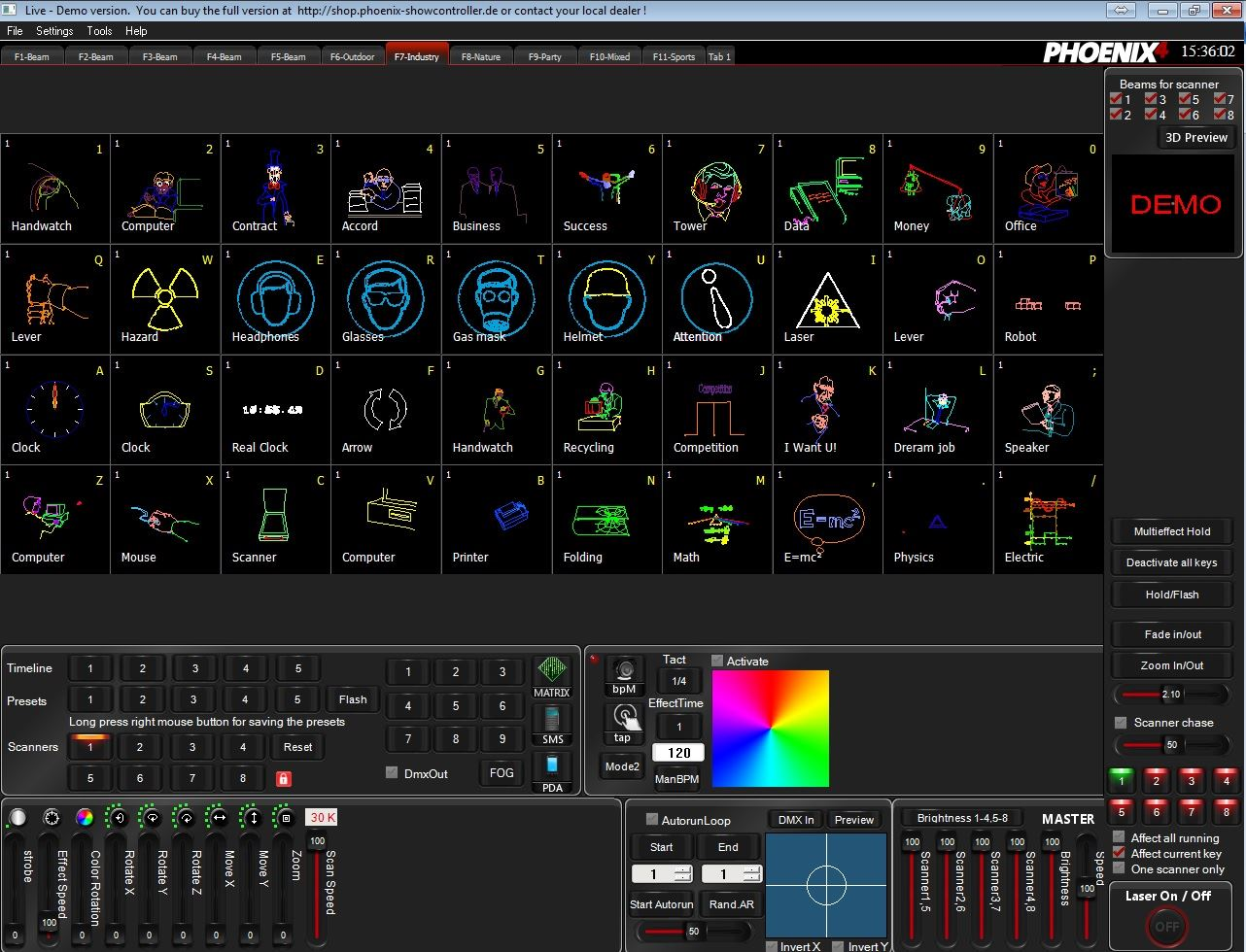 Εικόνα για την κατηγορία Phoenix Live 4: Προβολή χαρακτήρων & λέξεων με το Spectra 3D & την γκάμα των laser της Laserworld.